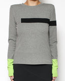 grey & black stripe neon green sleeves tee *pre-order*