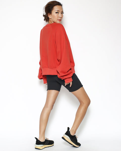 orange red fleece ruched sleeves sweatshirt *pre-order*