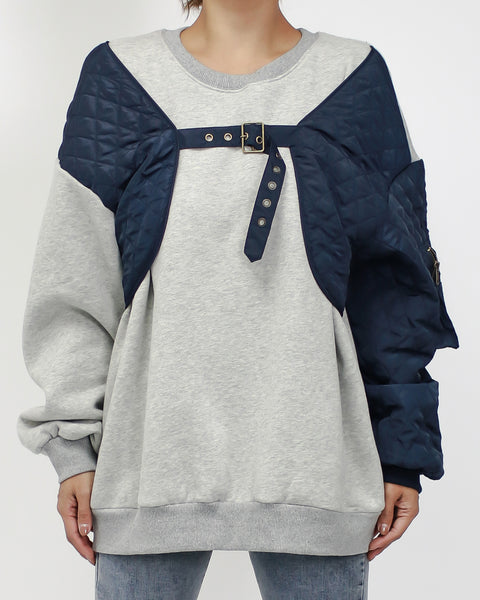 grey with navy satin quilted sweatshirt *pre-order*