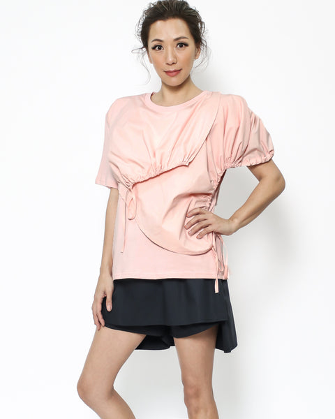 pink ruched shirt tee