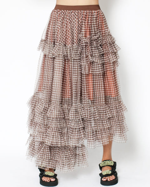brown checkers mesh ruffles asymmetric hem skirt *pre-order*