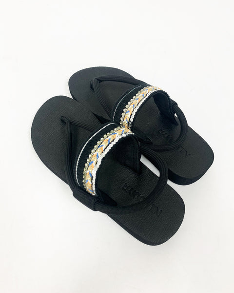 Black rubber sole strappy sandals *pre-order*