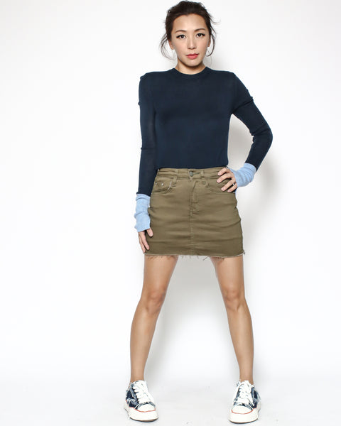 army green denim skort *pre-order*