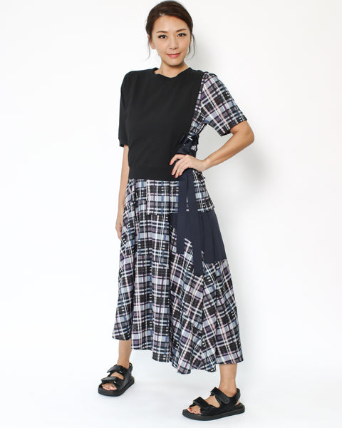 black tee with chiffon checkers contrast longline dress *pre-order*