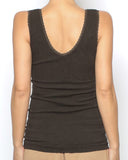 brown warmer padded lace trim vest *pre-order*