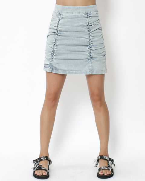 denim ruched front high waist skort *pre-order*