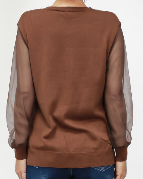 brown knitted with mesh sleeves top *pre-order*