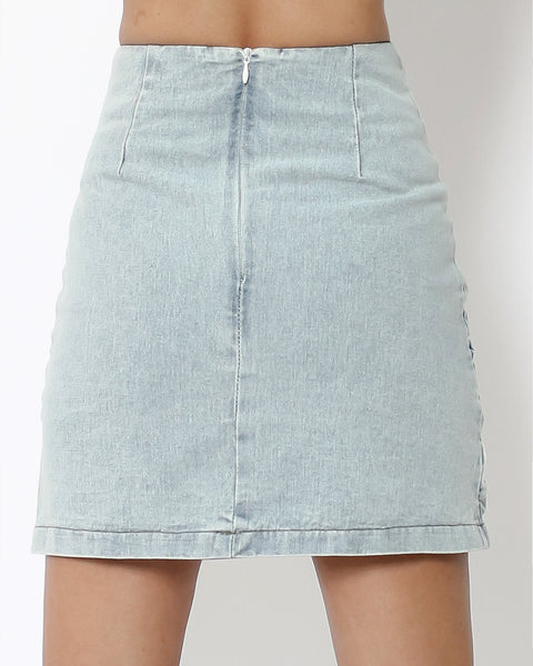 denim ruched front high waist skirt *pre-order*