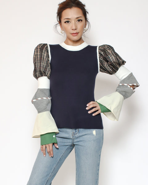 navy knitted top with checkers grey & green sleeves