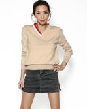 beige & ivory red neckline knitted top *pre-order*