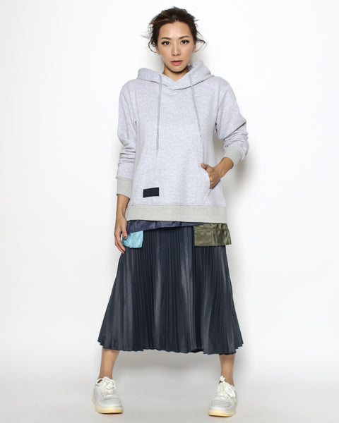 grey hoodie sweatshirt & navy pleats dress *pre-order*