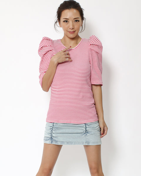 pink stripes ruched sleeves tee