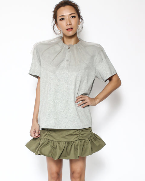 grey tee with mesh layers collar