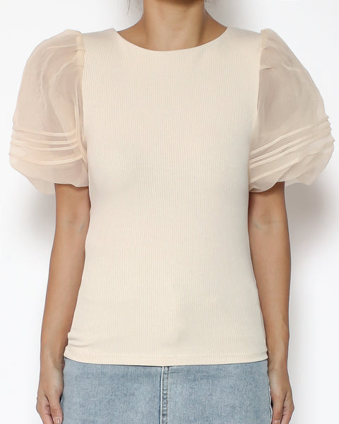 beige fine knitted with mesh puff sleeves *pre-order*