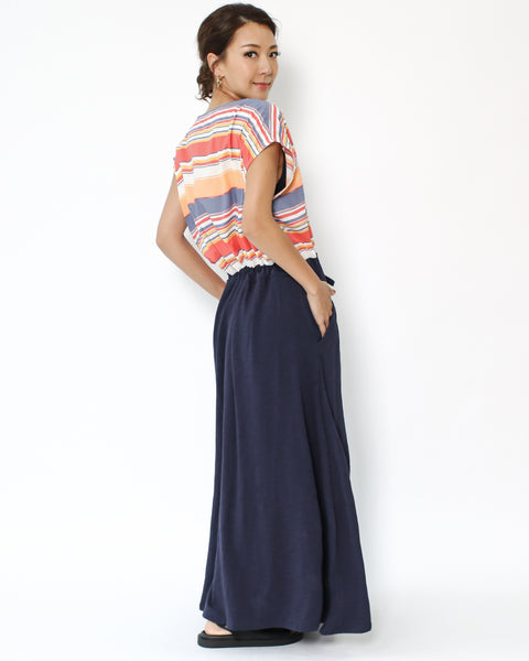 coloured stripes with navy hem maxi dress