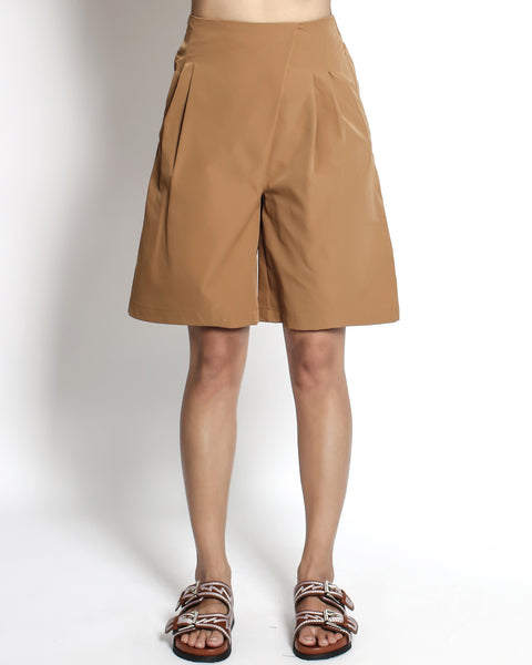 camel pleats front casual shorts *pre-order*