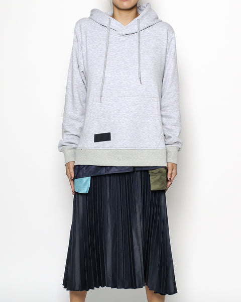 grey hoodie sweatshirt & navy pleats dress