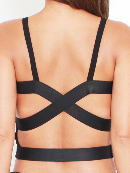 Black Crop Strappy Back Bra Top *pre-order*