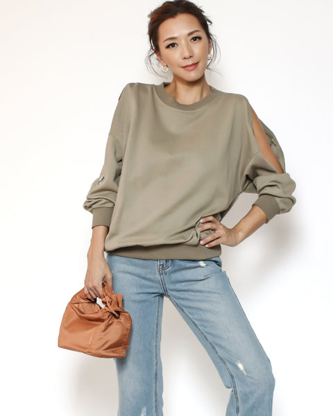 light green zipper cutout shoulders sweatshirt