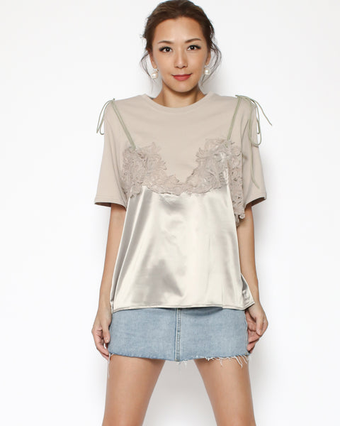 beige tee with lace & satin contrast *pre-order*