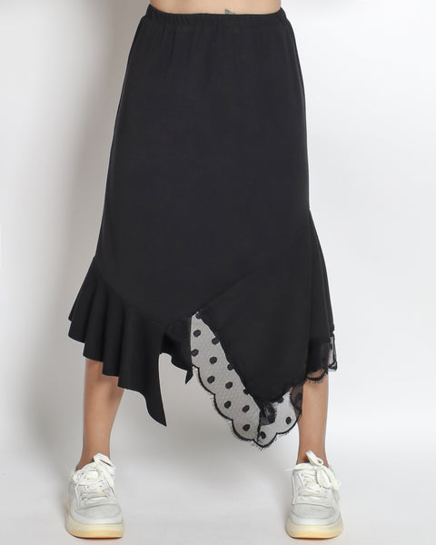 black cotton with ruffles & polka dots mesh asymmetric hem skirt *pre-order*