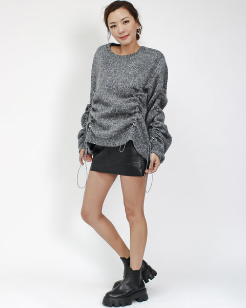 grey ruched sleeves & front knitted top