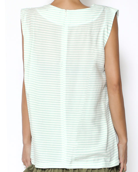 light green stripes fold front vest