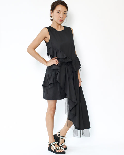 black ruffles & mesh asymmetric hem shirt dress