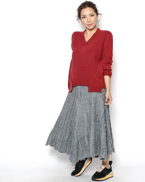 grey tassels knitted skirt *pre-order*