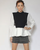 ivory shirt with black knitted & buckles sides top *pre-order*