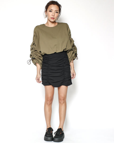 black ruched high waist shirt skirt *pre-order*