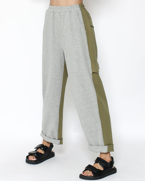 grey sweat with olive green twill contrast pants