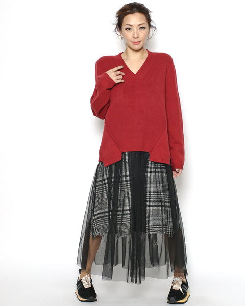 black checkers & mesh layer skirt