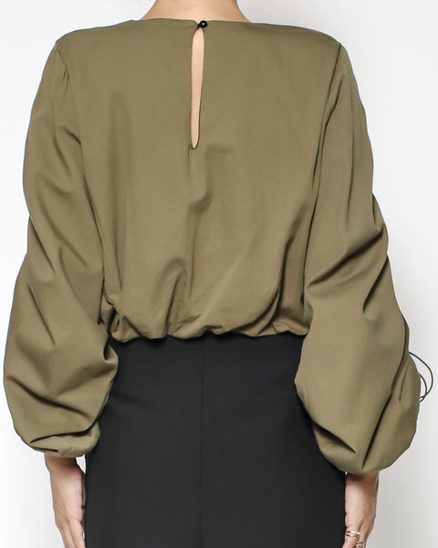 olive green ruched sleeves cropped shirt