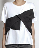 white tee with black bow front *pre-order*