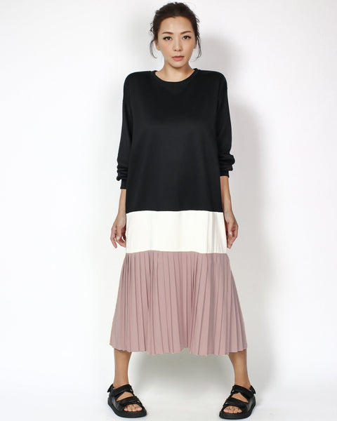 black sweatshirt with ivory & lilac pleats contrast longline dress *pre-order*