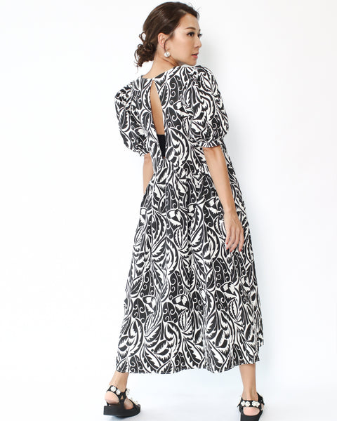 black printed cutout back puff sleeves midi shirt dress