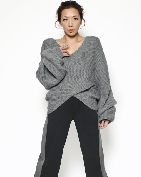 grey wrap front knitted top