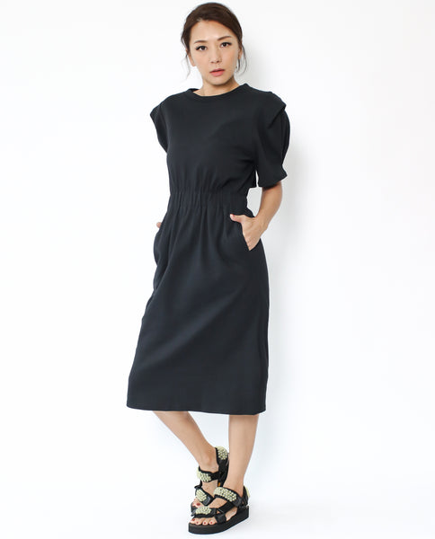 black sweat cutout back midi dress