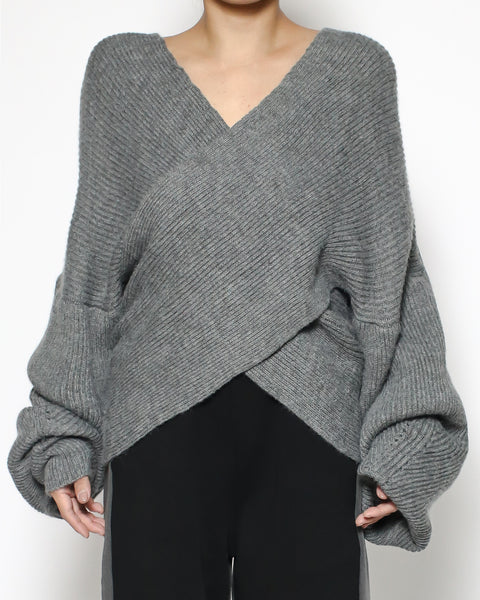 grey wrap front knitted top *pre-order*