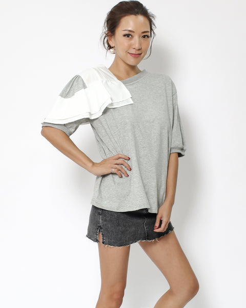 grey tee with ivory shoulders details