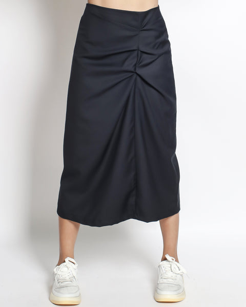 naby ruched front slinky midi skirt *pre-order*
