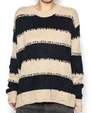 beige & black stripes ripped knitted top *pre-order*