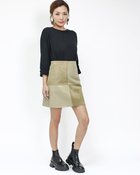 light green PU leather with suede panel skort