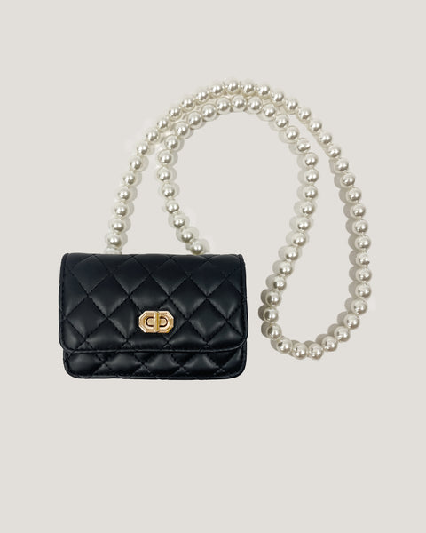 black PU laether quilted & peals chain bag *pre-order