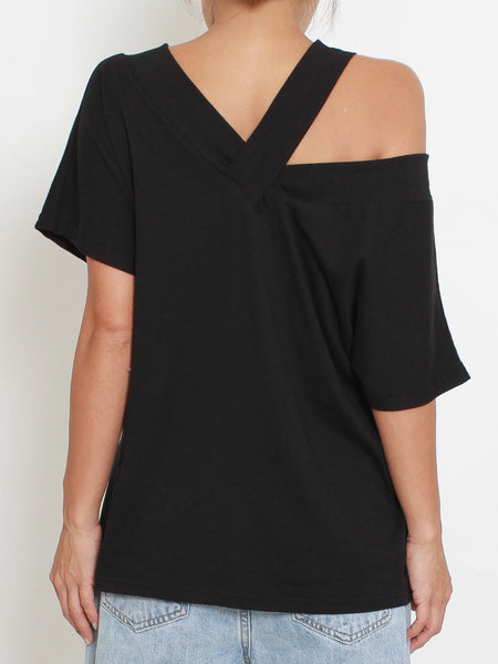 black strappy off shoulder tee *pre-order*