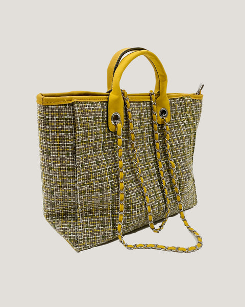 yellow tweed PU leather trim chain handle bag *pre-order