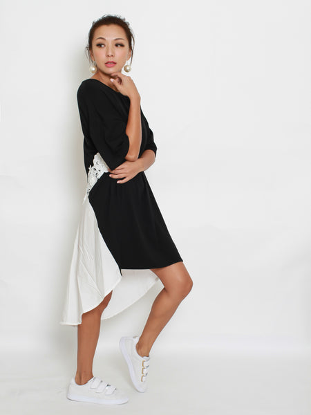 black tee with White crochet AND texture back dress *pre-order*