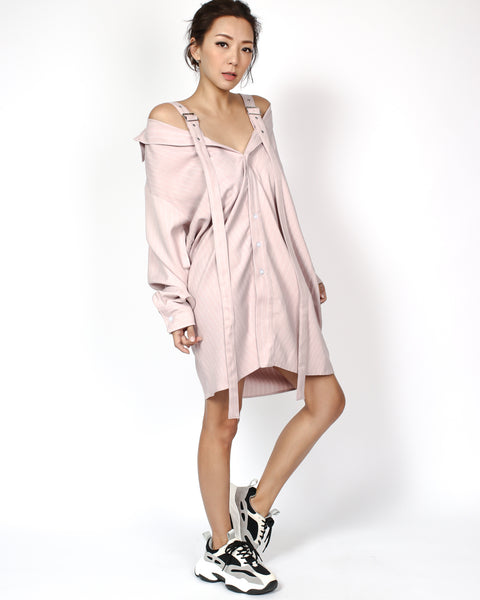 pink stripes strappy cutout shoulders longline shirt