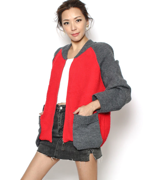 grey & bright orange knitted cardigan